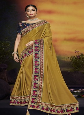 Light mustard embroidered silk blend saree with blouse