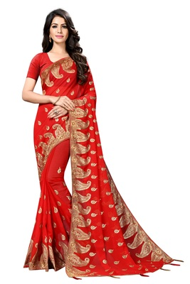 Red embroidered fancy fabric saree with blouse
