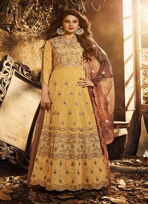 Light-mustard embroidered silk salwar