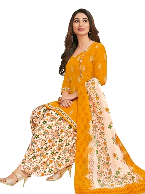 Yellow printed crepe salwar