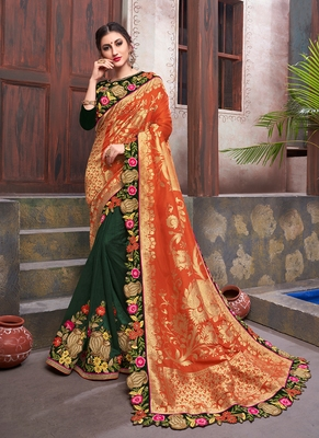 multicolor embroidered silk blend saree with blouse