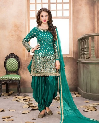 Green embroidered santoon salwar