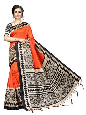 Orange printed banarasi silk saree with blouse