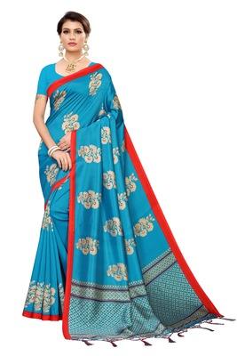 Blue printed banarasi silk saree with blouse