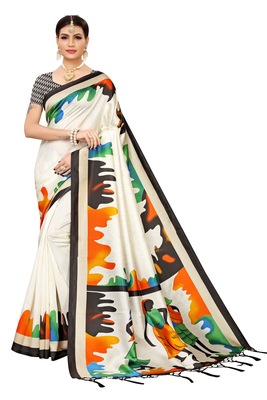 Black printed banarasi silk saree with blouse