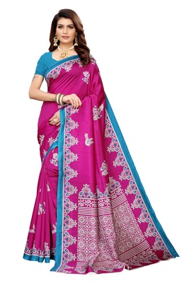 Wine printed banarasi silk saree with blouse