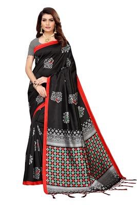 Black printed banarasi silk saree with blouse