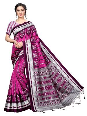 Wine printed banarasi silk saree with blouse