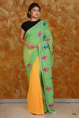 LIGHT GREEN AND YELLOW HALF HALF KHADI COTTON SAREE WITH EMBROIDERY WORK