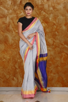 STEEL BLENDED COTTON SAREE WITH MULTICOLOR BORDER AND NAVY BLUE PALLU