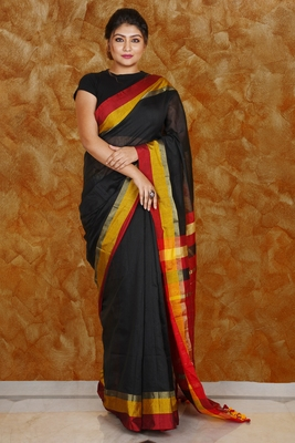 BLACK BLENDED COTTON SAREE WITH MULTI-COLOR BORDER AND RED PALLU