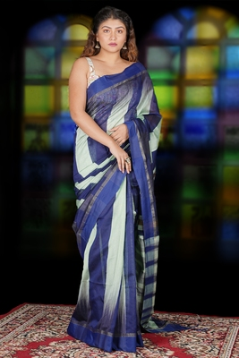 PASTEL GREEN AND NAVY BLUE IKKAT WEAVING BLENDED COTTON SAREE WITH ZARI PALLU