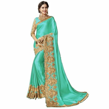 Cyan embroidered silk blend saree with blouse