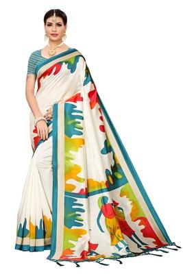 White printed banarasi silk saree with blouse