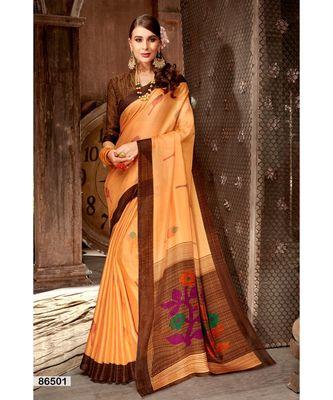 orange printed jute_cotton saree with blouse