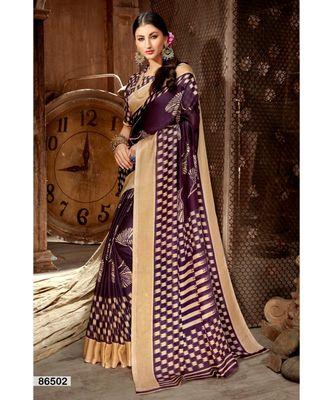 purple printed jute_cotton saree with blouse
