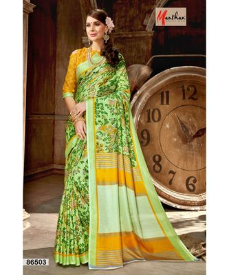 green printed jute_cotton saree with blouse
