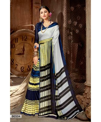 multicolor printed jute_cotton saree with blouse