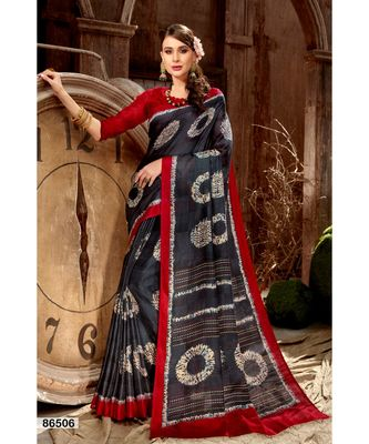 black printed jute_cotton saree with blouse