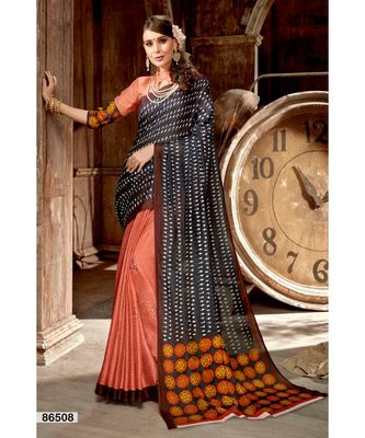 peach printed jute_cotton saree with blouse