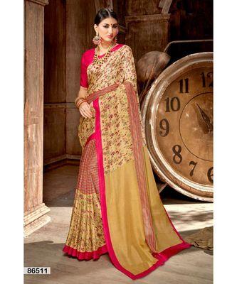 cream printed jute_cotton saree with blouse