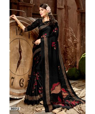 black printed jute_cotton saree with blouse