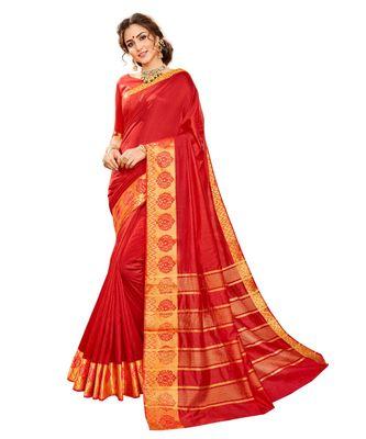 red printed banarasi_silk saree with blouse