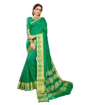green printed banarasi_silk saree with blouse