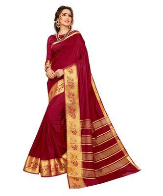 maroon printed banarasi_silk saree with blouse