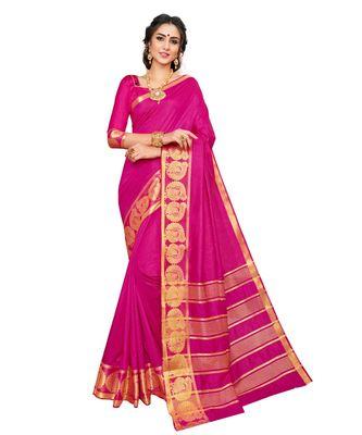 pink printed banarasi_silk saree with blouse