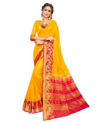 yellow printed banarasi_silk saree with blouse