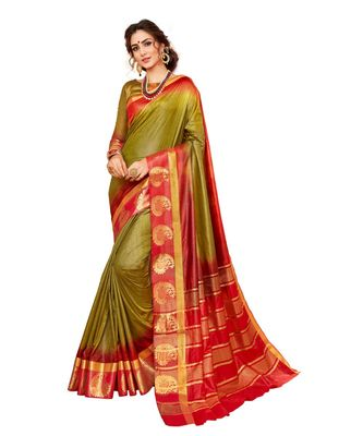 olive printed banarasi_silk saree with blouse
