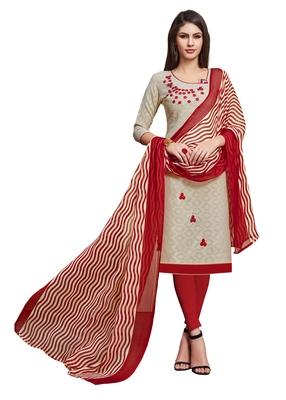 Beige embroidered blended cotton salwar