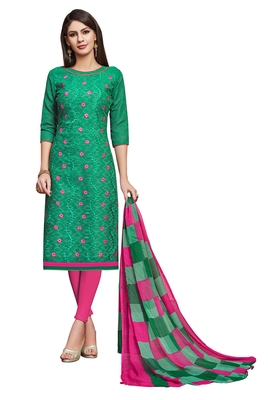 Turquoise embroidered blended cotton salwar