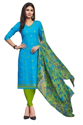 Sky-blue embroidered blended cotton salwar