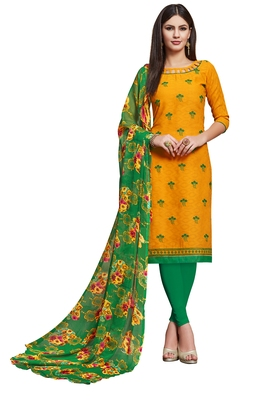 Yellow embroidered blended cotton salwar