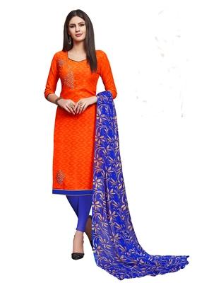 Orange embroidered blended cotton salwar