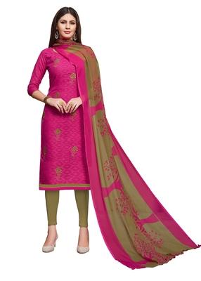 Pink embroidered blended cotton salwar