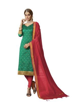 Sea-green woven banarasi silk salwar