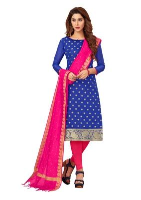 Blue woven banarasi silk salwar