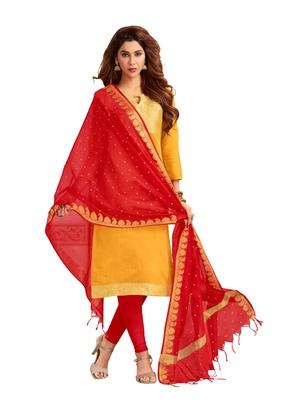 Yellow woven banarasi silk salwar