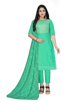 Sky-blue lace cotton salwar