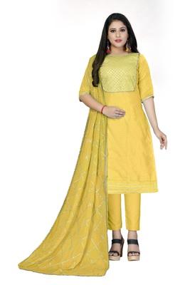 Yellow lace cotton salwar