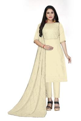 Beige lace cotton salwar