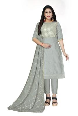 Grey lace cotton salwar