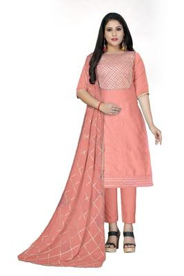 Peach lace cotton salwar