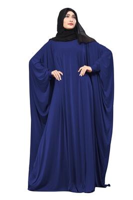 Justkartit Blue Color Casual Wear Plain Free Size Lycra Abaya With Chiffon Hijab For Women