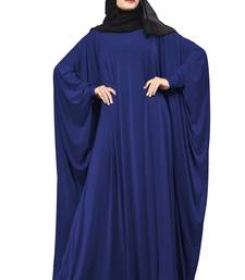 Justkartit Blue Color Casual Wear Plain Free Size Lycra Abaya With Chiffon Hijab For Women