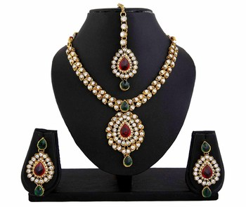 Kundan Red Green Indian Bollywood Necklace Earrings Tika Set for Women