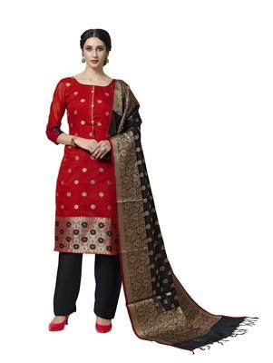Red Woven Banarasi Silk Salwar